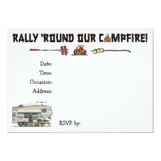 Cute RV Vintage Fifth Wheel Camper Travel Trailer 5x7 Paper Invitation Card