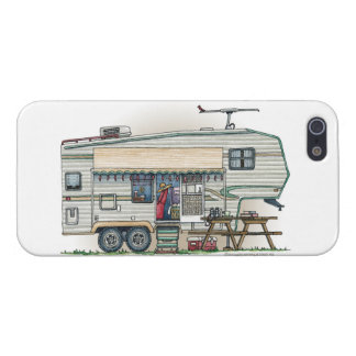 Cute RV Vintage Fifth Wheel Camper Travel Trailer Cases For iPhone 5
