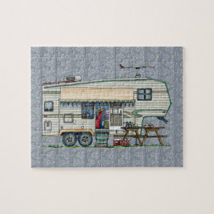 78e6a28ca0 Cute RV Vintage Fifth Wheel Camper Travel Trailer Jigsaw Puzzle