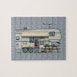 Cute RV Vintage Fifth Wheel Camper Travel Trailer Jigsaw Puzzle
