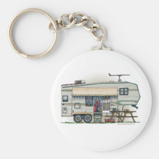 Cute RV Vintage Fifth Wheel Camper Travel Trailer Keychain