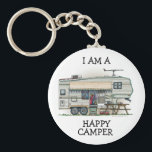 "Cute RV Vintage Fifth Wheel Camper Travel Trailer Keychain<br><div class=""desc"">Memories of camping last a lifetime! And so do those memories of your fifth wheel camper. These whimsical fifth wheel camper key chains are as cute as they can be:) This fifth wheel vintage camping trailer was designed by artist Richard Neuman. His uniquely styled vintage trailers artwork is collected worldwide....</div>"