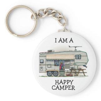 Cute RV Vintage Fifth Wheel Camper Travel Trailer Keychain