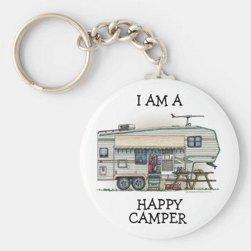Cute RV Vintage Fifth Wheel Camper Travel Trailer Keychains