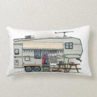 Cute RV Vintage Fifth Wheel Camper Travel Trailer Lumbar Pillow