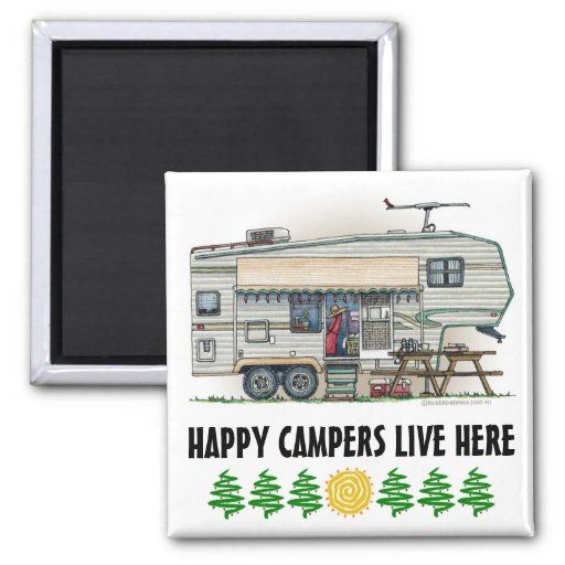 Cute RV Vintage Fifth Wheel Camper Travel Trailer Fridge Magnets