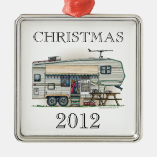 Cute RV Vintage Fifth Wheel Camper Travel Trailer Metal Ornament