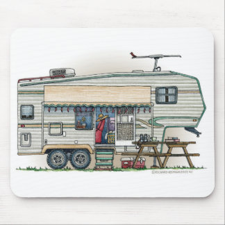 Cute RV Vintage Fifth Wheel Camper Travel Trailer Mouse Pad
