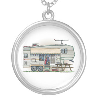 Cute RV Vintage Fifth Wheel Camper Travel Trailer Personalized Necklace