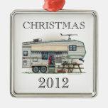 Cute RV Vintage Fifth Wheel Camper Travel Trailer Christmas Ornaments