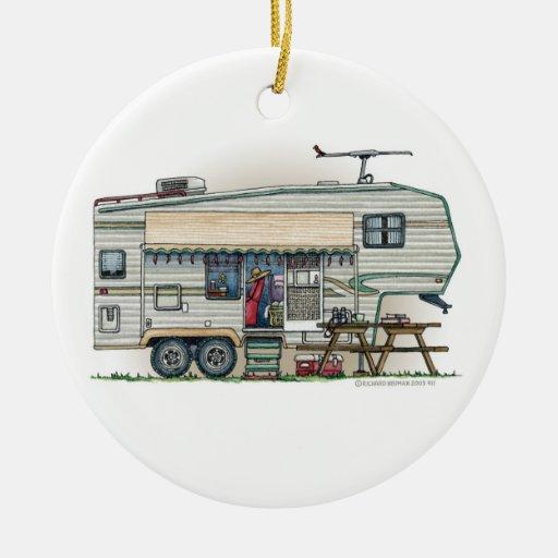 Cute RV Vintage Fifth Wheel Camper Travel Trailer Christmas Ornament