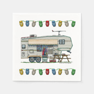Cute RV Vintage Fifth Wheel Camper Travel Trailer Paper Napkin
