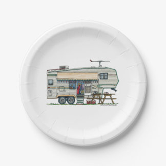 Cute RV Vintage Fifth Wheel Camper Travel Trailer Paper Plate