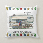 Cute RV Vintage Fifth Wheel Camper Travel Trailer Pillow