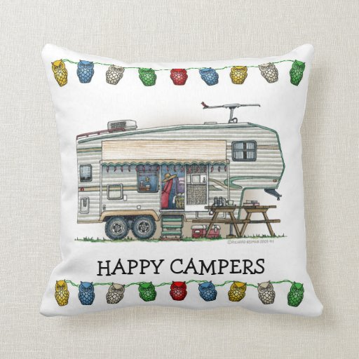 Cute RV Vintage Fifth Wheel Camper Travel Trailer Pillows