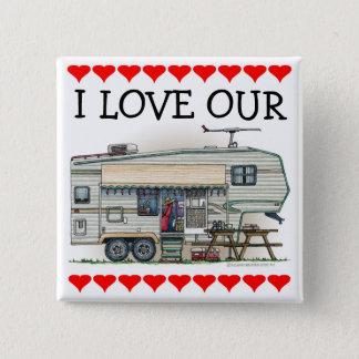 Cute RV Vintage Fifth Wheel Camper Travel Trailer Pinback Button
