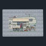 "Cute RV Vintage Fifth Wheel Camper Travel Trailer Placemat<br><div class=""desc"">Memories of camping last a lifetime! And so do those memories of your fifth wheel camper. These whimsical fifth wheel camper mens hoodies are as cute as they can be:) This fifth wheel vintage camping trailer was designed by artist Richard Neuman. His uniquely styled vintage trailers artwork is collected worldwide....</div>"