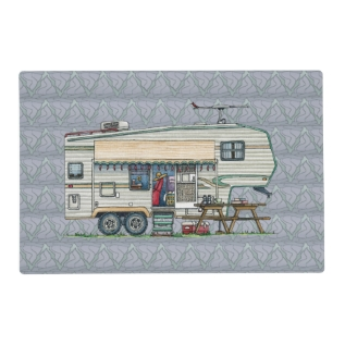 Cute Rv Vintage Fifth Wheel Camper Travel Trailer Placemat at Zazzle