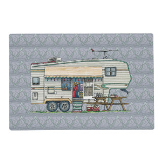 Cute RV Vintage Fifth Wheel Camper Travel Trailer Placemat