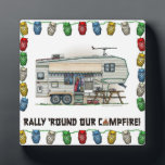 """Cute RV Vintage Fifth Wheel Camper Travel Trailer Plaque<br><div class=""""desc"""">Memories of camping last a lifetime! And so do those memories of your fifth wheel camper. These whimsical fifth wheel camper mens hoodies are as cute as they can be:) This fifth wheel vintage camping trailer was designed by artist Richard Neuman. His uniquely styled vintage trailers artwork is collected worldwide....</div>"""
