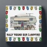 "Cute RV Vintage Fifth Wheel Camper Travel Trailer Plaque<br><div class=""desc"">Memories of camping last a lifetime! And so do those memories of your fifth wheel camper. These whimsical fifth wheel camper mens hoodies are as cute as they can be:) This fifth wheel vintage camping trailer was designed by artist Richard Neuman. His uniquely styled vintage trailers artwork is collected worldwide....</div>"