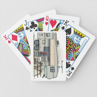 Cute RV Vintage Fifth Wheel Camper Travel Trailer Bicycle Playing Cards