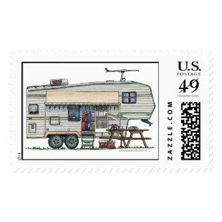 Cute RV Vintage Fifth Wheel Camper Travel Trailer Postage