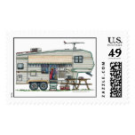 Cute RV Vintage Fifth Wheel Camper Travel Trailer Postage Stamps