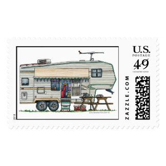 Cute RV Vintage Fifth Wheel Camper Travel Trailer Postage Stamps