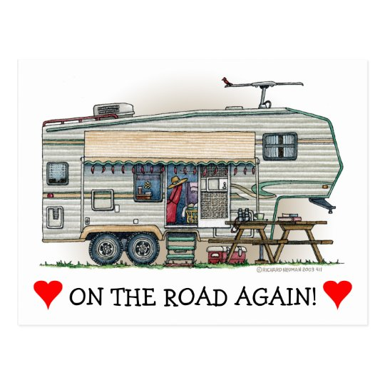 Cute RV Vintage Fifth Wheel Camper Travel Trailer Postcard