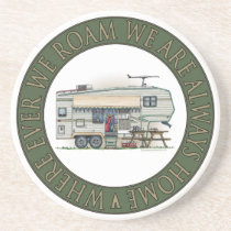 Cute RV Vintage Fifth Wheel Camper Travel Trailer Sandstone Coaster