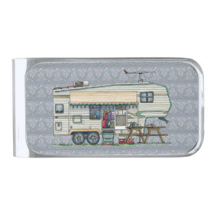 Cute RV Vintage Fifth Wheel Camper Travel Trailer Silver Finish Money Clip