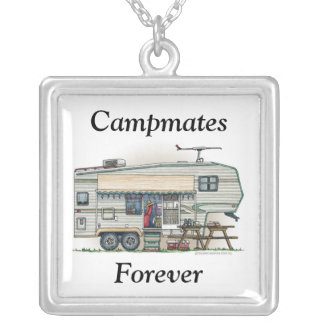 Cute RV Vintage Fifth Wheel Camper Travel Trailer Silver Plated Necklace