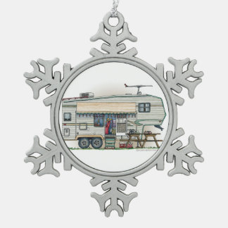 Cute RV Vintage Fifth Wheel Camper Travel Trailer Snowflake Pewter Christmas Ornament