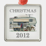 Cute RV Vintage Fifth Wheel Camper Travel Trailer Square Metal Christmas Ornament