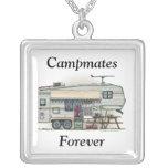 Cute RV Vintage Fifth Wheel Camper Travel Trailer Square Pendant Necklace