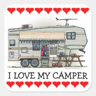 Cute RV Vintage Fifth Wheel Camper Travel Trailer Square Sticker