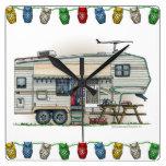 Cute RV Vintage Fifth Wheel Camper Travel Trailer Square Wall Clock