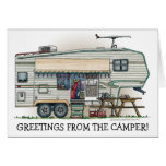 Cute RV Vintage Fifth Wheel Camper Travel Trailer Stationery Note Card