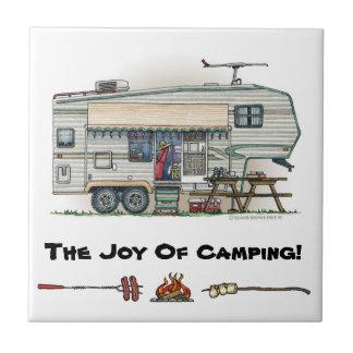 Cute RV Vintage Fifth Wheel Camper Travel Trailer Tile