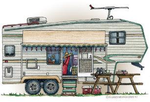 7f00186982 Cute RV Vintage Fifth Wheel Camper Travel Trailer Tote Bag