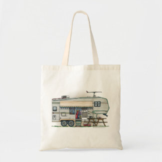 Cute RV Vintage Fifth Wheel Camper Travel Trailer Tote Bag