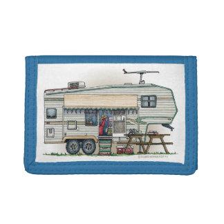 Cute RV Vintage Fifth Wheel Camper Travel Trailer Tri-fold Wallet