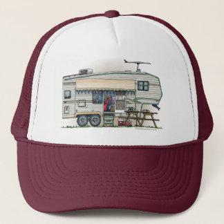 Cute RV Vintage Fifth Wheel Camper Travel Trailer Trucker Hat