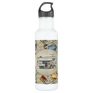 Cute RV Vintage Fifth Wheel Camper Travel Trailer Water Bottle