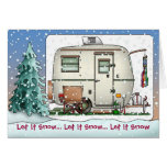 Cute RV Vintage glass egg camper Trailer Holiday Greeting Card