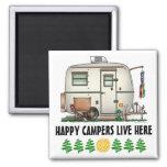 Cute RV Vintage Glass Egg Camper Travel Trailer 2 Inch Square Magnet