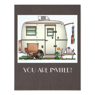 Cute RV Vintage Glass Egg Camper Travel Trailer 4.25x5.5 Paper Invitation Card