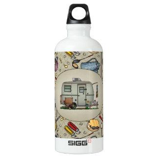 Cute RV Vintage Glass Egg Camper Travel Trailer Aluminum Water Bottle
