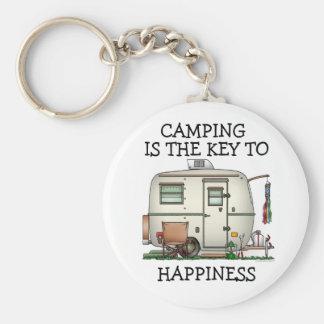 Cute RV Vintage Glass Egg Camper Travel Trailer Basic Round Button Keychain
